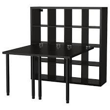 Ikea Work Table by Kallax Workstation Black Brown Ikea