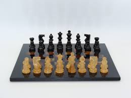 alabaster chess set black brown chess pieces