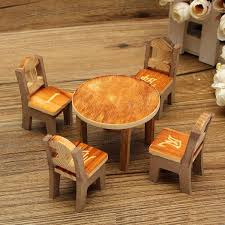 dollhouse wooden mini furnitures ornaments decoration table u0026 4
