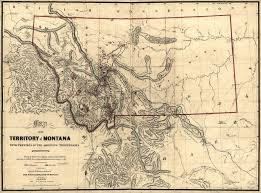 State Map Of Montana by Montana Territory Showing Mineral Strikes 1865