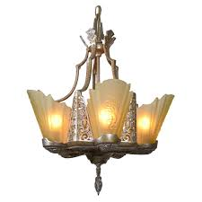 art deco slip shade chandelier for sale at 1stdibs
