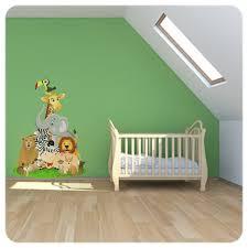 stickers d oration chambre b sticker animaux jungle décoration afrique pour chambre bébé