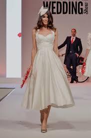 halter neck wedding dresses calf length halter neck 1950s retro wedding dress