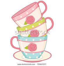 roses teacups vector stack tea cups tea cups stock vector 705837277