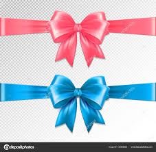 ribbon and bows set of vector realistic pink and blue ribbon and bows on
