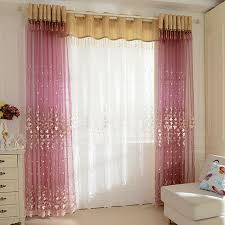 Sheer Gold Curtains Decorative Embroidery Floral Pattern Living Room Purple Sheer Curtain