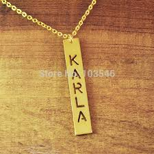 vertical name necklace aliexpress buy cut out nameplate vertical bar necklace