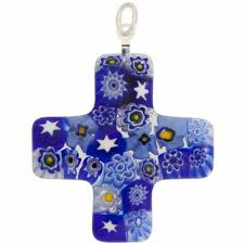 venetian glass cross 30x30 pendant blue