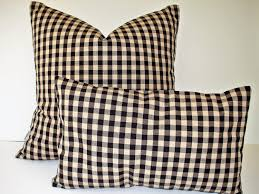 black tan check pillow cover ballard designs black cream zoom