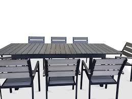 9 Piece Patio Dining Set - 9 piece eco wood extendable outdoor patio dining set rustic gray