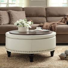 Accent Table Canada Large Storage Ottoman Coffee Table With Leather On Skin End
