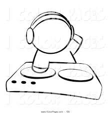 vector coloring page of a black and white sketched human factor dj
