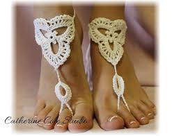 barefoot sandals scallop design handmade 100 cotton great for