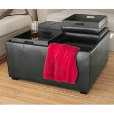 amazon com best choice products leather ottoman with 4 tray tops