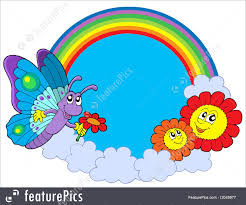 skyscapes rainbow circle with butterfly and flowers stock