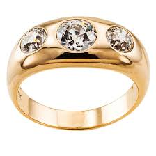 stone rings pictures images Three stone diamond gold gypsy ring at 1stdibs jpg