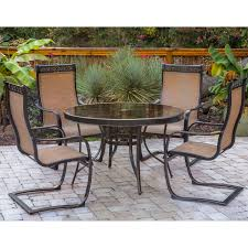 Glass Top Patio Table And Chairs Monaco 5 Piece Outdoor Dining Set With C Spring Chairs And Glass