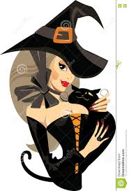 face witch with cat witch halloween stock vector image