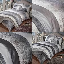 glitter crushed velvet duvet quilt cover set silver grey mink