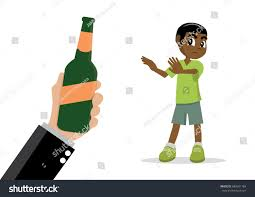 alcohol vector cartoon character african boy refuse alcohol stock vector