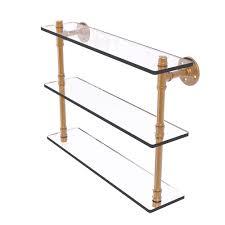 ballard designs giana shelf by ballard designs havenly allied brass pipeline collection 22 in triple glass shelf in brushed bronze