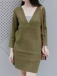 online shopping army green v neck long sleeve knit jumper dress