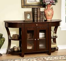 Entryway Console Table by Furniture Of America Newell Dark Cherry Finish Two Door Entryway