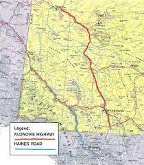 map of the klondike highway yukon in 1972