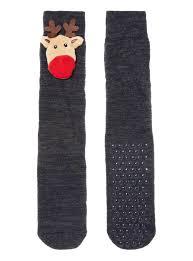 mens navy novelty light up reindeer slipper socks tu clothing