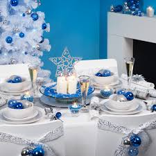 blue and white christmas decorations fireplace mantel centerpiece