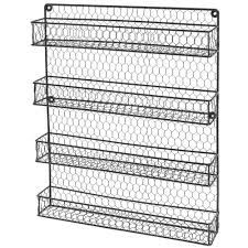 wall mounted spice rack cabinet 4 tier black country rustic chicken wire pantry cabinet or wall