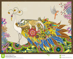 floral feather peacock coloring page stock illustration image