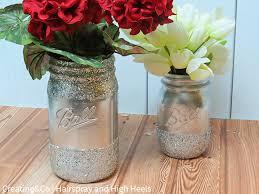 Mason Jar Vases Diy Glitter Mason Jar Vase Hairspray And Highheels