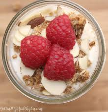 raspberry almond greek yogurt parfait gettin u0027 my healthy on
