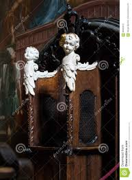 Angel Sculptures Adorable Baby Angel Sculptures In Church Sanctuary Stock Photo