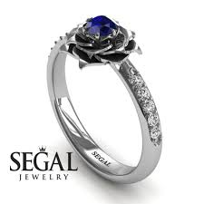 jewelry rings sapphire images Flower engagement ring 14k white gold 0 25 carat round cut jpg