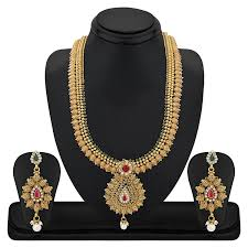 fashion long gold necklace images Buy reeva gold copper necklace earrings jewellery set for women jpg