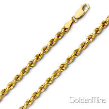 chain necklace diamond images 4mm 14k yellow gold men 39 s diamond cut rope chain necklace heavy jpg
