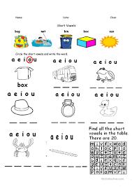 12 free esl short vowels worksheets