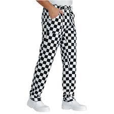 pantalon de cuisine noir pantalon de cuisine à damier noir et blanc isacco scacco