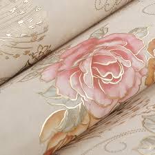 papier peint romantique chambre européenne de luxe bronzage floral papier peint murale mur