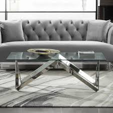Silver Table Ls Living Room Living Contemporary Rectangular Coffee Table In Polished