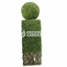 outdoor garden artificial topiary hedge with ball boxwood hedges