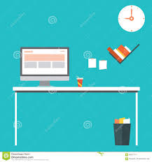 flat design vector illustration of modern home office interior