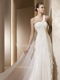 draped wedding dress one shoulder sleeveless floor length draped inverted triangle