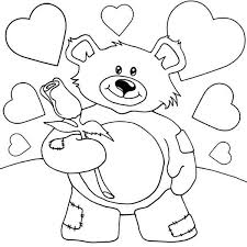 valentine teddy bear holding rose coloring page valentine teddy