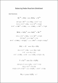 balancing redox equations worksheet worksheets releaseboard free