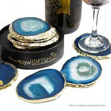 agate coasters 24k gold plated agate coasters nifty gift finder