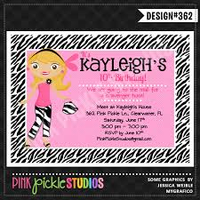 zebra teen personalized party invitation