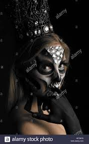 Day Of The Dead White Black And White Day Of The Dead Shimmering Creative Makeup In